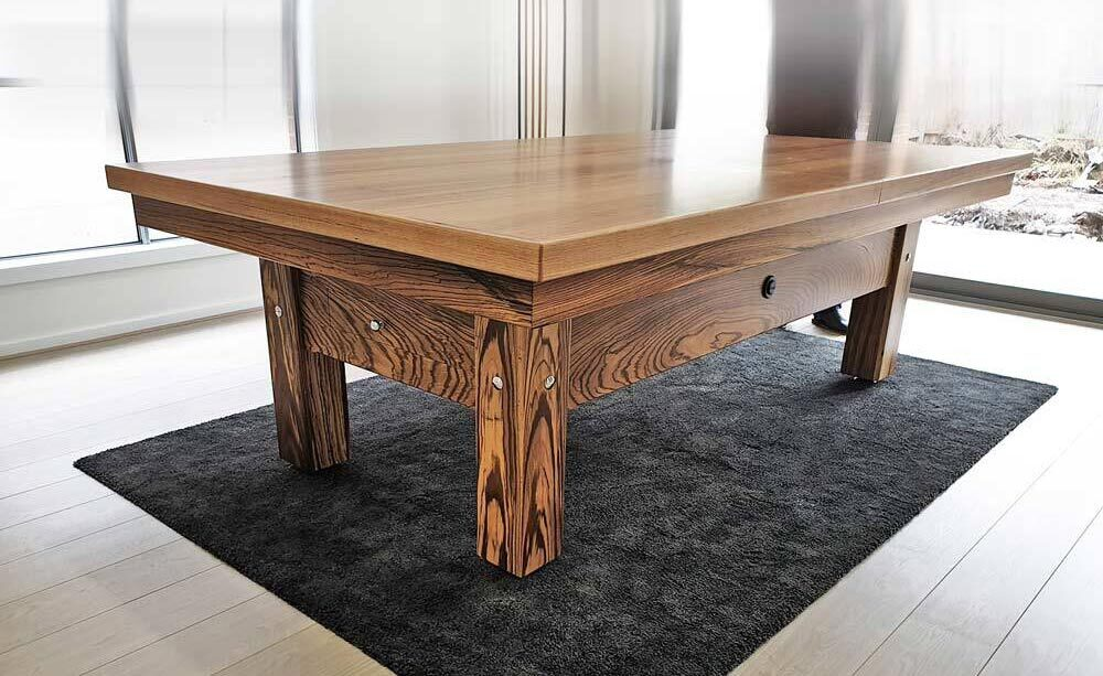 Pool/Billiards table Dining Top, made with Exotic Timber