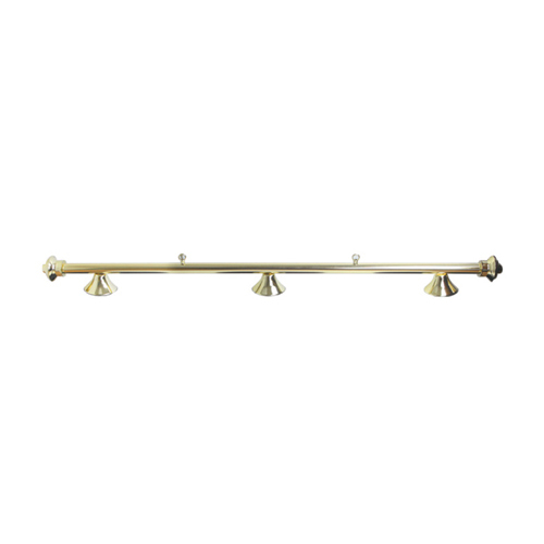 Brass rail Lamp with Green lampshades