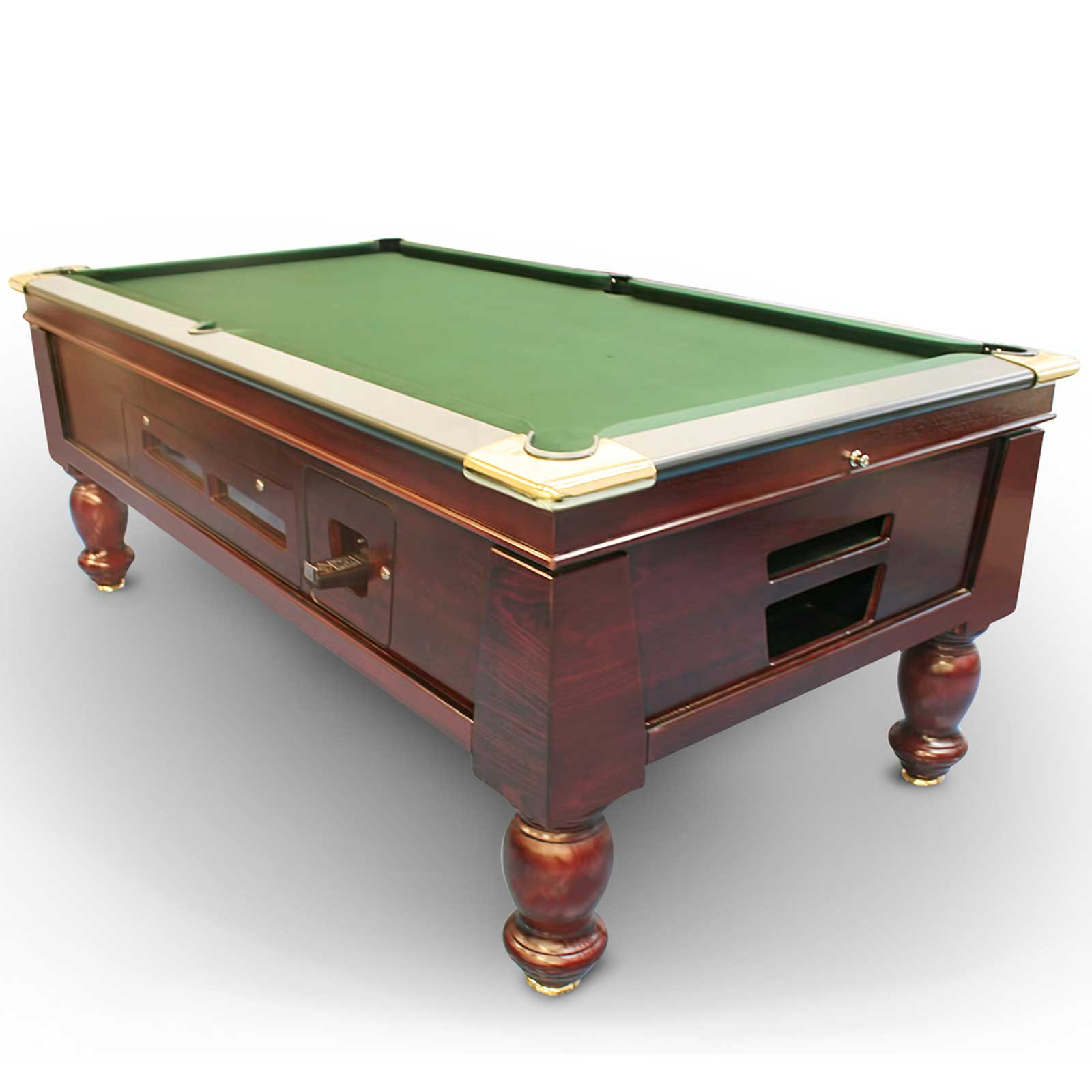 7 FT Slate Modern Pub/Hotel Bar Coin Operated Billiard Table with Traditional Turned Leg