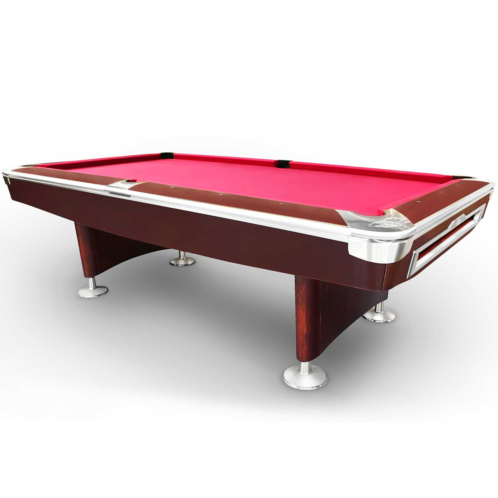 8 Foot Slate American Styled Billiards 9 Ball Table - Mahogany Body with Burgundy felt